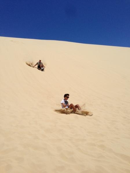 Sandboarding on Stockton Beach